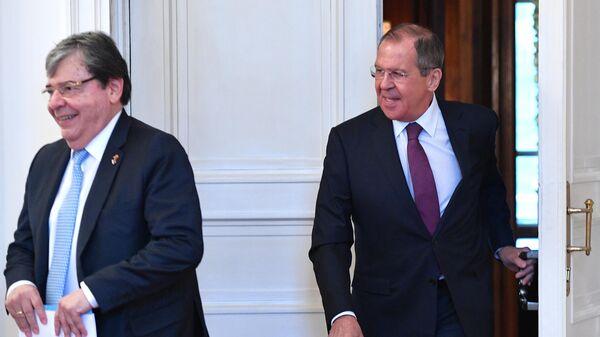 Министр иностранных дел России Сергей Лавров и министр иностранных дел Колумбии Ольмес Трухильо во время встречи. 3 июня 2019