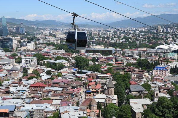 Канатная дорога в городе Тбилиси в Грузии