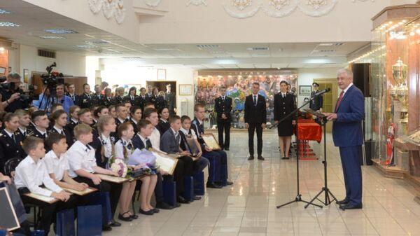 Министр внутренних дел Владимир Колокольцев на мероприяти по награждению подростков за мужество и активную гражданскую позицию при задержании преступников и предотвращении преступлений. 5 июня 2019