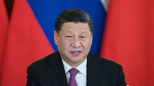 Председатель Китайской Народной Республики Си Цзиньпин на церемонии подписания совместных документов по итогам российско-китайских переговоров в Кремле. 5 июня 2019