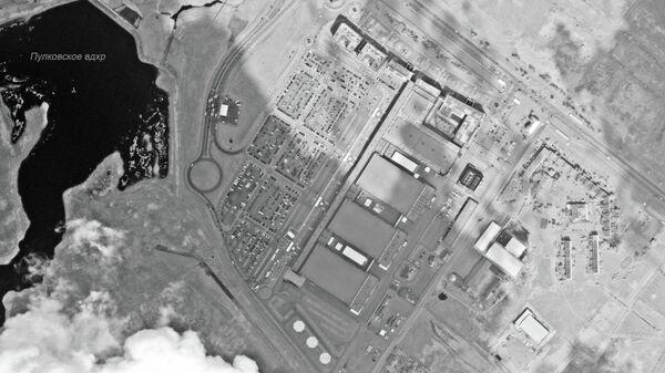 Снимок конгрессно-выставочного центра в Санкт-Петербурге, сделанный аппаратом дистанционного зондирования Земли во время проведения ПМЭФ 2019