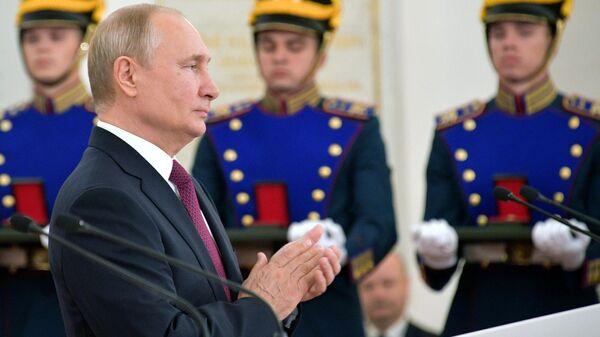 Владимир Путин на церемонии вручения Государственных премий за 2018 год в День России. 12 июня 2019