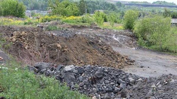 Место подземного пожара в Киселевском городском округе Кемеровской области