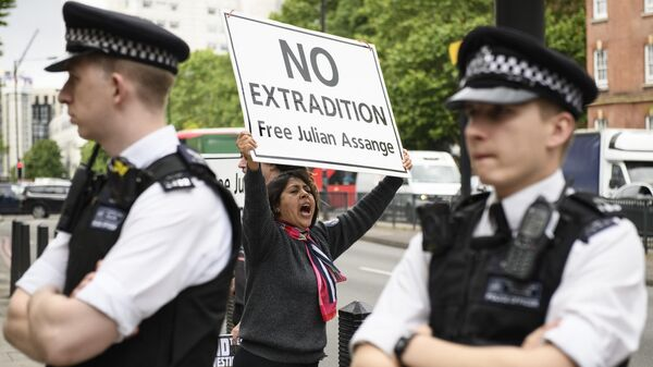 Акция в поддержку основателя организации WikiLeaks Джулиана Ассанжа в Лондоне
