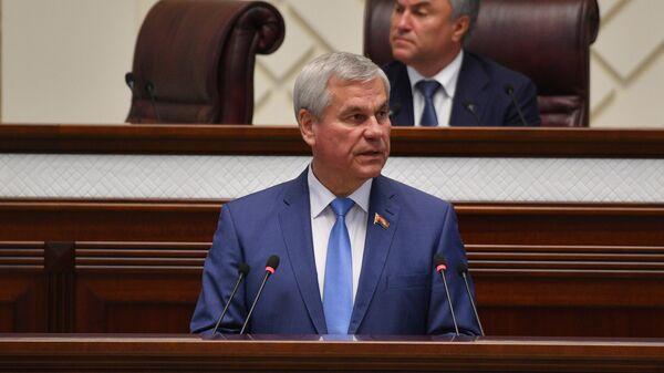 Владимир Андрейченко на 56-й сессии парламентского собрания Союзного государства России и Белоруссии в Минске. 17 июня 2019