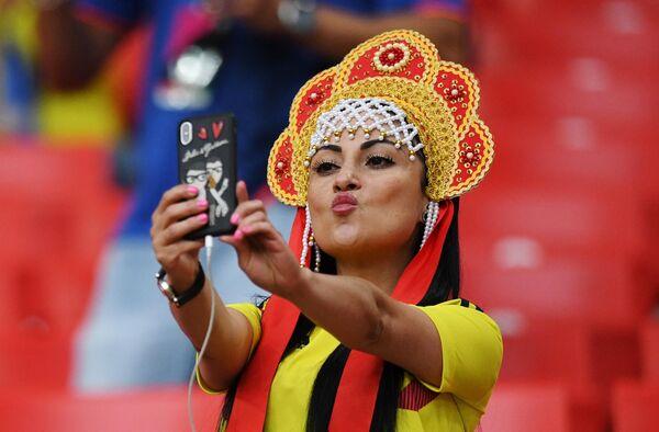 Болельщица сборной Колумбии перед матчем 1/8 финала чемпионата мира по футболу между сборными Колумбии и Англии