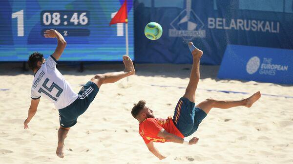 Игровой момент в матче между сборными командами Испании и России