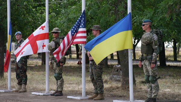 Военнослужащие Молдавии, Грузии, США и Украины во время торжественного построения на учениях Sea Breeze-2019 в Одессе, Украина
