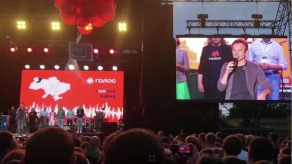 Лидер украинской политической партии Голос Святослав Вакарчук выступает на мероприятии своего предвыборного тура в Харькове