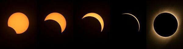 Фотографии с разными стадиями солнечного затмения. 2 июля 2019 года