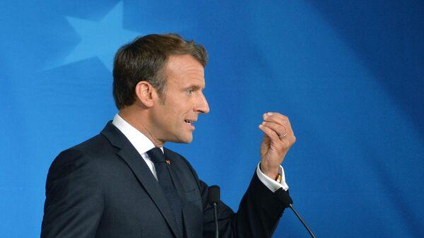 Президент Франции Эммануэль Макрон на саммите ЕС в Брюсселе