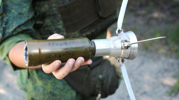 Снаряд с маркировкой болгарского производства выпущенный по поселку Зайцево города Горловка Донецкой области
