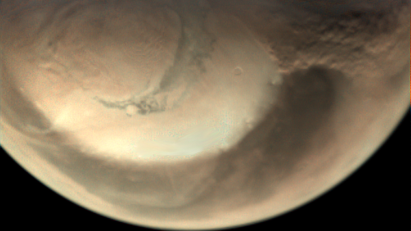 Пылевая буря, возникшая на поверхности Марса в конце мая этого года