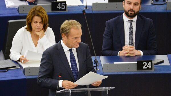 Покидающий свой пост председатель Европейского Совета Дональд Туск на первой сессии Европарламента нового созыва. 4 июля 2019