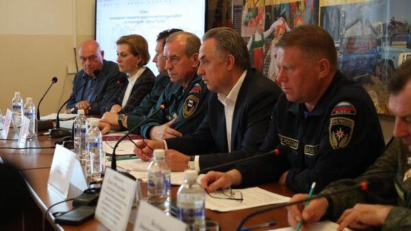 Заседание Правительственной комиссии под председательством вице-премьера Правительства РФ Виталия Мутко. 6 июля 2019