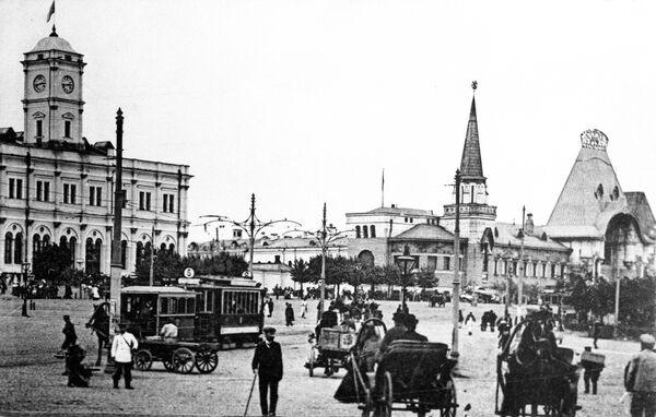 Репродукция фотографии 1916 года. Каланчевская площадь города Москвы