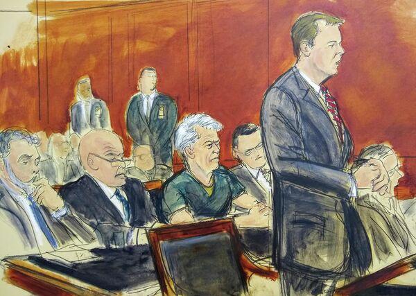 Рисунок с судебного заседания, на котором помощник прокурора США Алекс Россмиллер выступает во время предъявления обвинения Джеффри Эпштейну