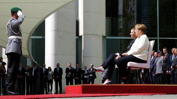 Канцлер Германии Ангела Меркель и премьер-министр Дании Метте Фредериксен во время встречи в Берлине