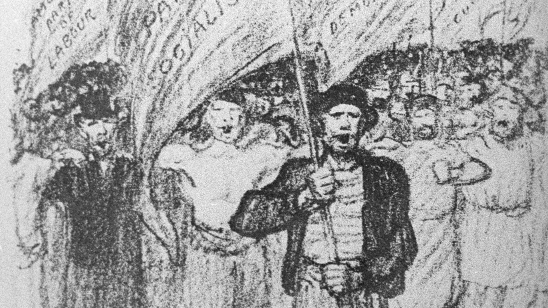 Гравюра С пением Интернационала - РИА Новости, 1920, 06.11.2020