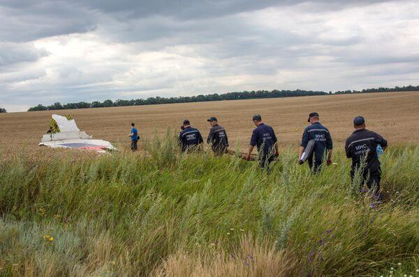 Сбор тел погибших при крушении лайнера Boeing 777 Малайзийских авиалиний в районе города Шахтерск Донецкой области
