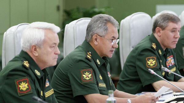 Министр обороны РФ Сергей Шойгу проводит селекторное совещание с руководством Вооруженных сил РФ. 1 августа 2019