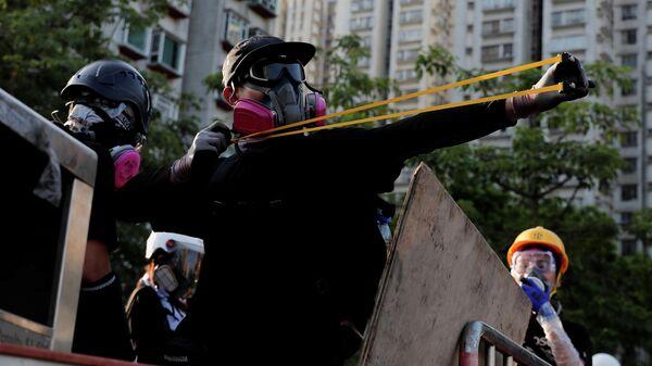 Участники акции протеста против внесения поправок к законопроекту об экстрадиции, Гонконг. 5 августа 2019