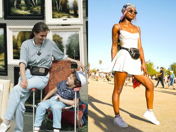 Женщина с сыном на Старом Арбате. 1991 год / Девушка на фестивале музыки в Калифорнии. 2019 год