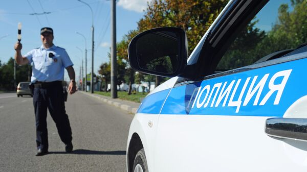Инспектор ДПС на маршруте патрулирования