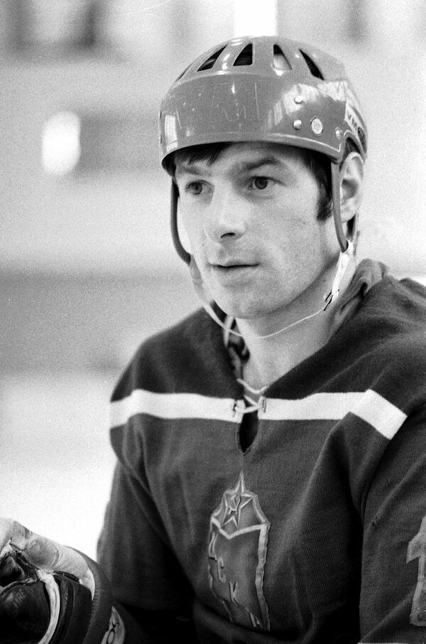 Хоккеист Валерий Харламов, нападающий команды ЦСКА и сборной команды СССР. 1974 год