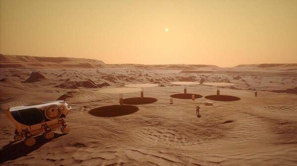 Так художник представил себе набор ядерных реакторов на поверхности Марса
