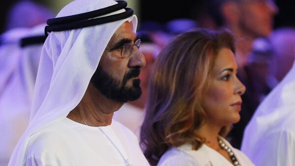 Премьер-министр ОАЭ и эмир Дубая шейх Мохаммед ибн Рашид Аль Мактум и принцесса Хайя бинт аль-Хусейн во время презентации доклада ООН о финансировании гуманитарной помощи. 17 января 2016