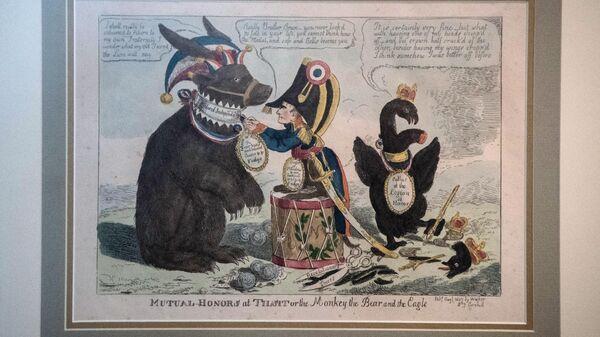 Типографская печать Взаимные почести в Тильзите, или Мартышка, Медведь и Орел на выставке Наполеон. Жизнь и судьба