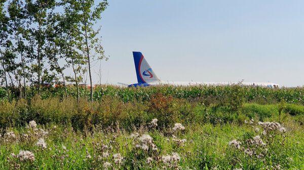 Самолет Airbus А-321 авиакомпании Уральские авиалинии после вынужденной посадки в Жуковском