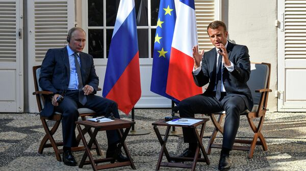 Встреча Владимира Путина и Эммануэля Макрона во Франции. 19 августа 2019