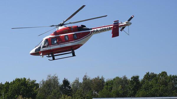 Вертолет Ансат компании HeliExpress, на котором будет осуществляться доставка гостей на авиасалон МАКС-2019