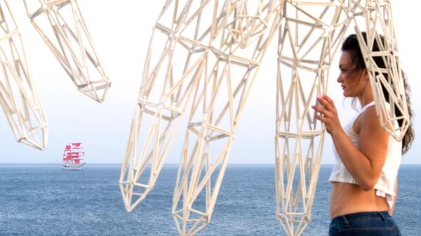 Парусник Херсонес под алыми парусами в бухте Капсель на юго-восточном побережье Крыма, где проходит фестиваль творческих сообществ Таврида-Арт