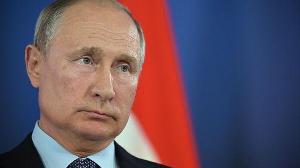 Президент РФ Владимир Путин на пресс-конференции по итогам российско-турецких переговоров на полях Международного авиакосмического салона МАКС-2019