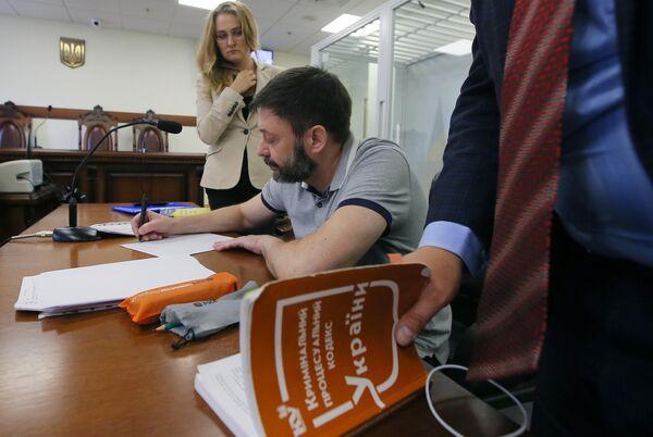 Руководитель портала РИА Новости Украина Кирилл Вышинский на заседании апелляционного суда Киева. 28 августа 2019
