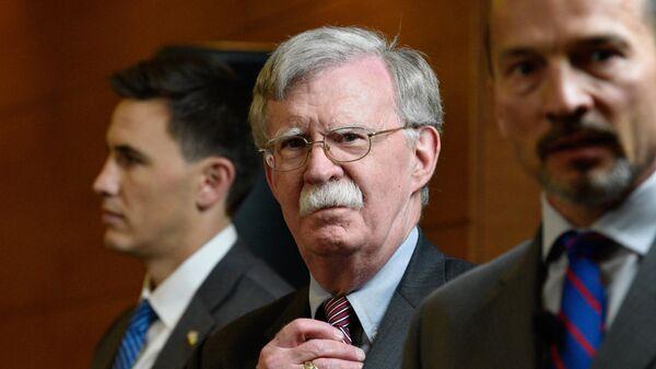 Советник президента США по национальной безопасности Джон Болтон на пресс-конференции в Киеве