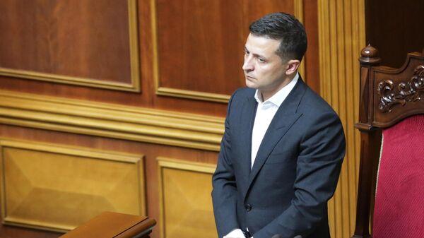 Президент Украины Владимир Зеленский на открытии заседания девятого созыва Верховной рады Украины в Киеве
