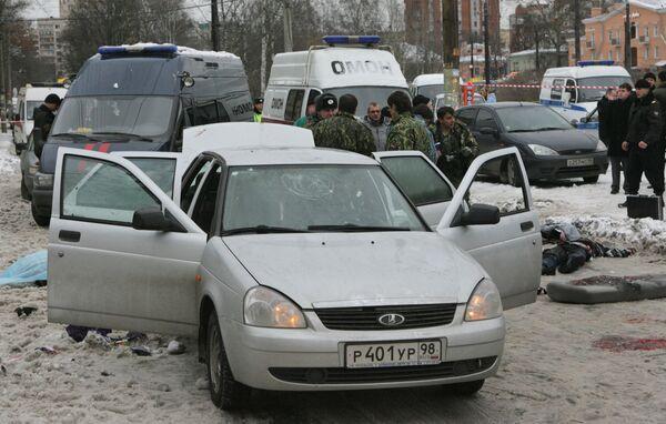 Взрыв автомобиля Лада-Приора в Санкт-Петербурге