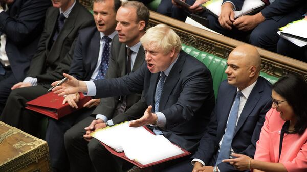 Премьер-министр Великобритании Борис Джонсон во время заседания Палаты общин в Лондоне. 4 сентября 2019