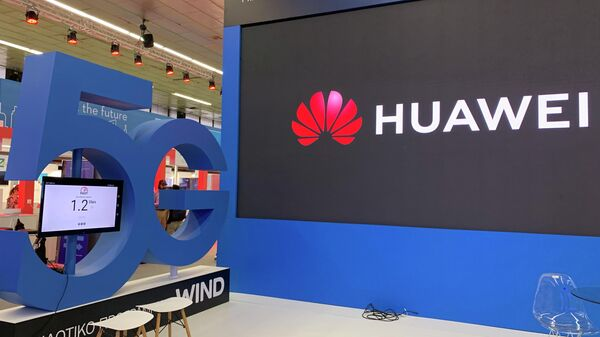 Стенд компании Huawei с презентацией сетей 5G в Греции
