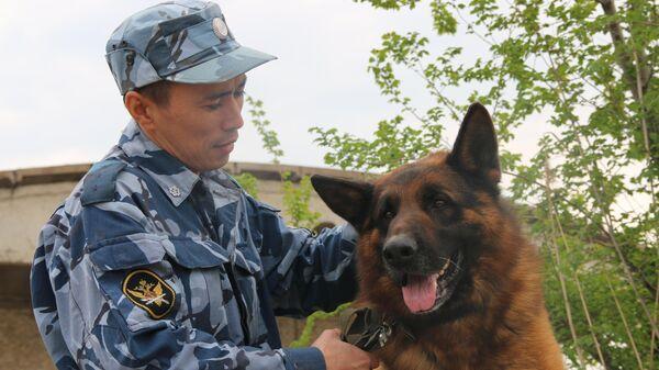 Инструктор-кинолог УФСИН России с собакой
