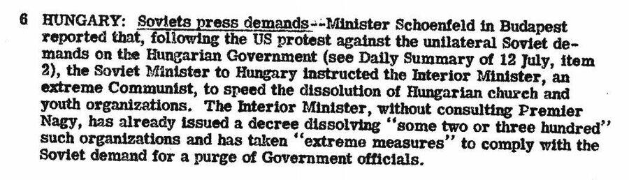 Фрагмент  сводки ЦРУ от 26 июля 1946 года о предписании СССР закрыть общественные организации в Венгрии