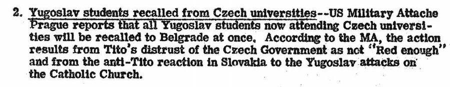 Фрагмент сводки ЦРУ от 31 октября 1946 года об отзыве югославских студентов из чешских университетов