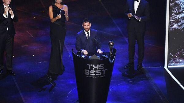Лионель Месси на церемонии вручения наград лучшему футболисту мира