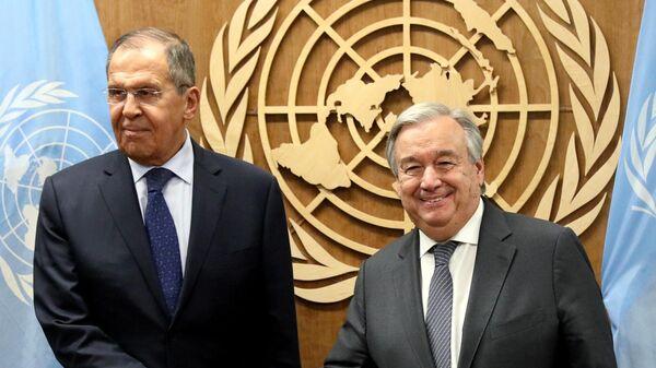 Министр иностранных дел РФ Сергей Лавров и генеральный секретарь Организации Объединенных Наций (ООН) Антониу Гутерреш