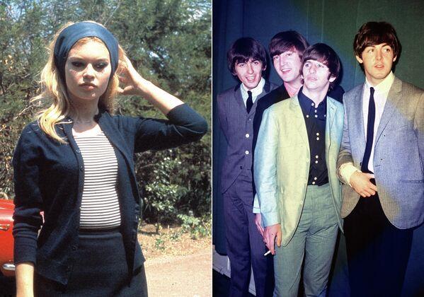 Брижит Бардо во время съемок фильма Презрение. 1963 год. Участники группы The Beatles во время тура по США. 1964 год