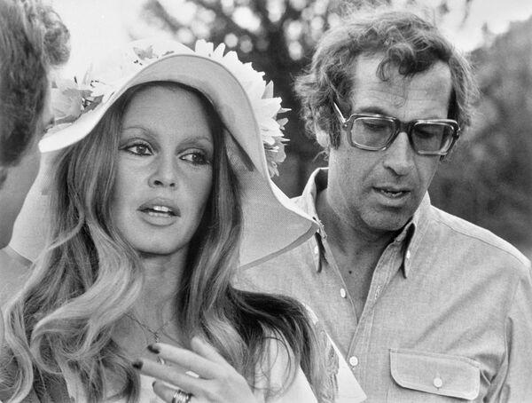 Режиссер Роже Вадим и актриса Брижит Бардо на съемках фильма Если бы Дон Жуан был женщиной. 1972 год